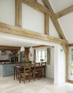 I am obsessed with wooden beams in a home. Here are some recent pictures with beams that I love, love, love! Not only are the beams fabulo. Home Decor Styles, House Design, House, Home, Border Oak, Oak Frame House, Kitchen Decor, Barn Kitchen, Rustic House