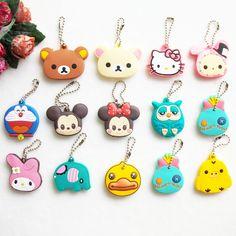 Cute Animal Cartoon Bear Mickey Hello Kitty Silicone Key Cover For Women Caps Key Chain Key Ring Key Holder Gifts