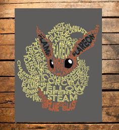Pokemon Flareon Typography Digital Print