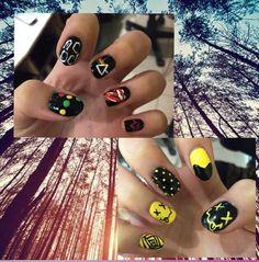 Awesome band nails my little sister has! Band Nails, Little Sisters, Nail Art, Awesome, Beauty, Fingernail Designs, Nail Arts, Beauty Illustration, Nail Art Designs