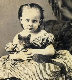 Detail from a CDV of a girl with her kitten