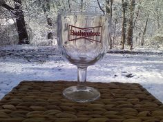 Vtg Large Budweiser Beer Goblet Glass Red Bowtie Graphics 2 Sided