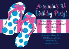 Pool Party Themed Birthday Invitations for Boys, Girls, Twins and Siblings. Choose from our large variety of Kids Water Slide Splish Splash Pool Party Invites. Pool Party Invitations, Birthday Invitations, Invite, 7th Birthday, Birthday Parties, Kids Water Slide, Anastasia, Polka Dots, Flip Flops
