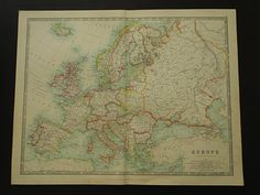 EUROPE antique map of Europe in 1921 large old by VintageOldMaps