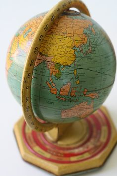 Vintage Tin Globe  J Chein World Globe with Months by bellalulu, $52.00