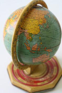 Vintage Tin Globe  J Chein World Globe with Months by bellalulu, $52.00