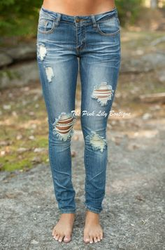 The Pink Lily Boutique - Distressed Medium Machine Skinny Jeans , $39.99 (http://thepinklilyboutique.com/distressed-medium-machine-skinny-jeans/)
