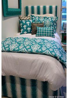 Teal & Silver Designer Teen & Dorm Bed in a Bag | Teen Girl Dorm Room Bedding