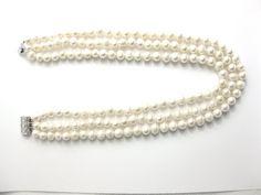 Drei 8 mm Süßwasser weiße Perlenkette Strang-nk165 von WinPearl