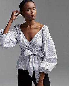 0894c14f04483d striped off the shoulder puff sleeve surplice blouse  tonjaamenra Express  Fashion