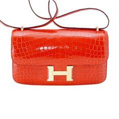 dcf58c28cfc4 Hermes Constance Elan Bag Geranium Crocodile Gold Hardware  handbagoutlet  Gucci Purses