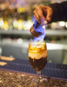 Flambeed cognac with coffee on a wintery night at Indique ! @Indique Restaurant@surfy71#indique#winterbeverages
