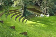 Laying stairs in the garden - a decorative element or necessity - Green garden stairs-landscaping sustainable-ideas - Landscape Architecture, Landscape Design, Garden Design, Large Backyard Landscaping, Backyard Waterfalls, Fun Backyard, Backyard Ponds, Garden Stairs, Sloped Garden