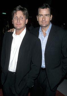 Actor Emilio Estevez and actor Charlie Sheen, sons of actor Martin Sheen