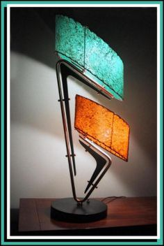 Stunning 1950's Majestic lamps with rare coloured fiberglass shades