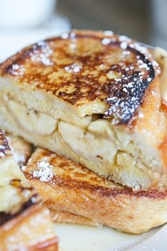 Banana French Toast Breakfast Sandwich with Cinnamon and Vanilla