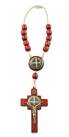 Rearview Rosary St Benedict Wooden Car Rosary - Made in Brazil *** Details can be found at…