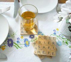 Scrabble-Untersetzer.