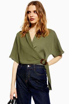 01be75c263f Buckle Wrap Crop Shirt - Shirts  amp  Blouses - Clothing - Topshop USA Crop  Shirt