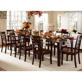 Found it at Wayfair - Bristol Point Dining Table (table can expand up to 132'' long. $920.60 for the table, and chairs are $129.80 each  = total for 8 person seating ~$1959)