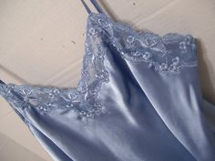 Victoria Secret Chemise Short Gown In a shade of slate blue liquid satin…