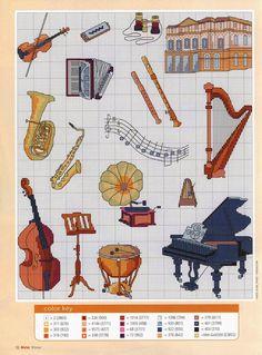 Instrumentos musicais ♥Meus Gráficos De Ponto Cruz♥: Alfabeto