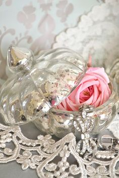 Mercury glass dresser pot with ...  Lace, Crystal & A Rose ...So Pretty!