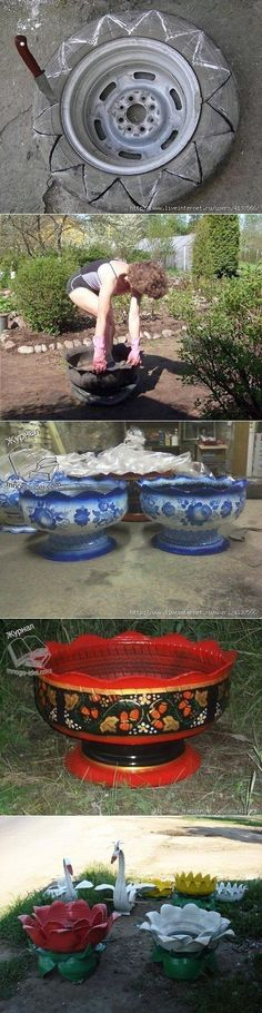 I m impressed. I wouldn t plant food plants in an old tire but why not decorative flowers I m impressed. I wouldn t plant food plants in an old tire but why not decorative flowers Tire Planters, Flower Planters, Flower Pots, Hand Planters, Garden Planters, Garden Crafts, Garden Projects, Garden Ideas, Tire Craft