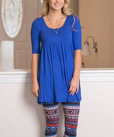 Love this Royal Babydoll Tunic - Plus Too on #zulily! #zulilyfinds