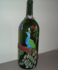 Egg Shell Mosaic on Wine bottle