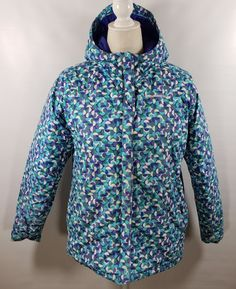 Toddler Girls Mint Blue /& Silver Polka Dot Puffer Jacket Winter Snow Coat