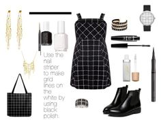 """""""On the Grid"""" by i-love-tennis ❤ liked on Polyvore featuring WithChic, Essie, Butter London, Burberry, NYX, Jane Iredale, Elwood, River Island, Sia Taylor and Ross-Simons"""