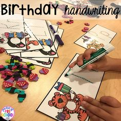 Birthday theme activities and centers preschool, pre-k, and kinder students will LOVE! Toddler Learning Activities, Hands On Activities, Kids Learning, Preschool Writing, Fall Preschool, Preschool Ideas, Preschool Class, Kindergarten, Birthday Book