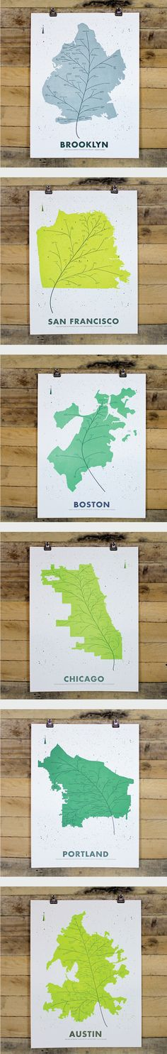 CITY LEAF MAP POSTERS Whether you hail from Brooklyn or Austin or have enjoyed favorite moments in Chicago or Portland, these leaf-inspired map posters are a beautiful way to showcase your city pride.  https://www.holstee.com/collections/citymaps