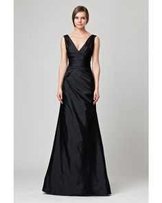 V-Neck Black Bridesmaid Dress. Fabric is taffeta (but felt for like a raw silk).  Color either platinum or cappucino.  Our fav!