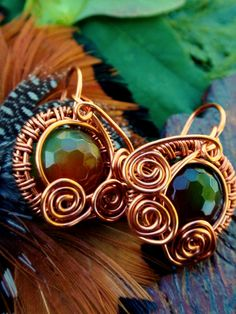Small copper earrings. Glass beads. Wire wrapped jewelry handmade. Wire wrapped earrings