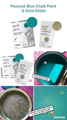 Peacock Blue Glitter Chalk Paint - Home Page Glitter Paint Additive, Glitter Paint For Walls, Blue Chalk Paint, Chalk Art, Distressed Furniture Painting, Chalk Paint Furniture, Wall Colors, Paint Colors, Glitter Furniture