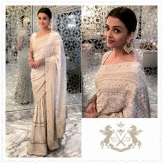 Aishwarya Rai Bachhan in Ivory Chikan Lehenga from Kotwara by Meera and Muzaffar…