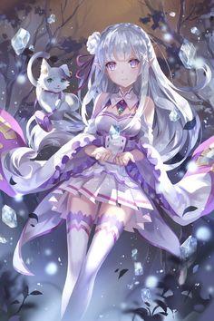 Re zero Emilia anime girl Manga Pokémon, Chica Anime Manga, Manga Girl, Anime Chibi, Anime Girl Neko, Cool Anime Girl, Anime Girls, Cute Neko Girl, Kawaii Girl