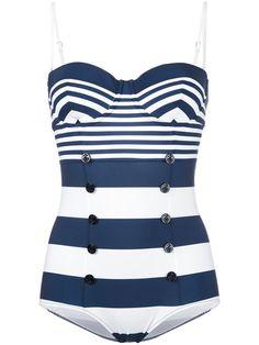34aa4c5ba8b14 DOLCE   GABBANA Striped Button Front Swimsuit.  dolcegabbana  cloth   swimsuit Plaj Giysisi