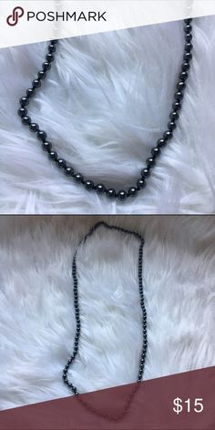 Glass Pearl Necklace Gunmetal glass Pearl Necklace. Heavy duty strand. (Boutique)  • No Trades. Price is firm. 15% off of bundles of 3 or more • J. Crew Jewelry Necklaces