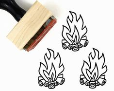 Campfire Stamp | Hand Drawn Camp Fire Rubber Stamp by Creatiate | Camping Icon, Boy Scouts