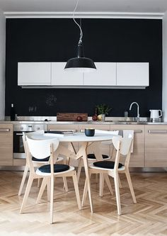 Stylish Kitchen with Stainless Steel Countertops White Wood Kitchens, White Kitchen Decor, Kitchen And Bath, Kitchen Interior, Slate Kitchen, Timber Kitchen, Neutral Kitchen, Nice Kitchen, Kitchen Black