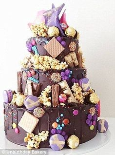 3 Tier Hero Cake with pink and purple chocolate crown Birthday Cake For Women Elegant, Birthday Cakes For Women, Birthday Desserts, Cake Birthday, Amazing Birthday Cakes, Happy Birthday Cakes, Sweet Cakes, Cute Cakes, Pretty Cakes