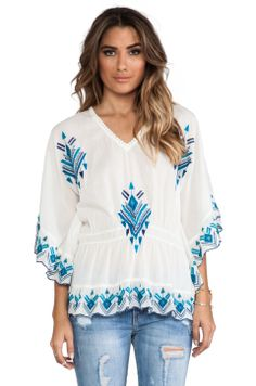 Raga Embroidered Batwing Blouse in Turquoise from REVOLVEclothing