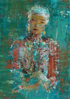 Asian Girl Acrylic & Collage:  Green, Blue, Orange, White, Gold - 11X14 on Board (3/4 deep edge painted orange) Artezoid by Dawn Valdez