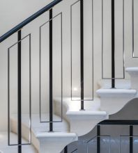 Balustrade with leather clad handrail | Topp and Co