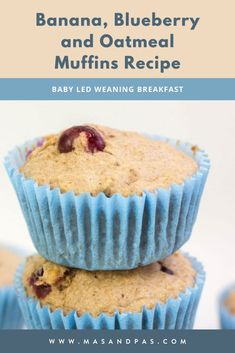 A delicious, healthy muffin that's naturally sweetened with bananas and blueberries, so it's clean eating, no refined sugar snack that's completely kid and baby friendly. Using just 6 easy ingredients including fresh fruit, coconut oil, eggs, and oatmeal, these muffins are nutritious and perfect for a baby led weaning meal or toddler snack. #babyledweaningrecipes #toddlermuffins #babyrecipes #healthyblueberrymuffins #blueberrybananamuffins Toddler Muffins, Baby Muffins, Toddler Snacks, Easy Snacks, Gluten Free Recipes For Kids, Baking Recipes For Kids, Baking With Kids, Baby Food Recipes, Baby Led Weaning Breakfast