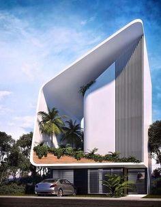 Project Casa JSH by Sanzpont Arquitectura in Cancun, Mexico Minimalist Architecture, Futuristic Architecture, Facade Architecture, Amazing Architecture, Contemporary Architecture, Contemporary Decor, White House Architecture, Design Exterior, Facade Design