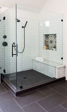 chairs 63 Luxury Walk in Shower Tile Ideas That Will Inspire You - Page 9 of 63 - My Home Design Blo Small Shower Remodel, Bath Remodel, My Home Design, House Design, Walk In Shower, Shower With Bench, Bathroom Interior Design, Master Bathroom, Master Baths